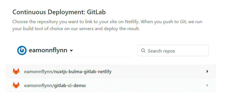 Netlify Create Site - Select Repo option