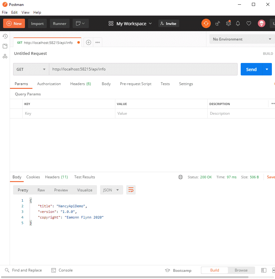 Nancy api in Postman